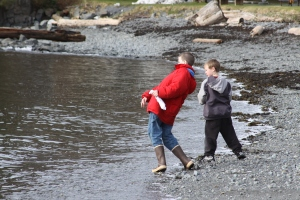 Skipping stones on the beach near Sitka National Historical Park