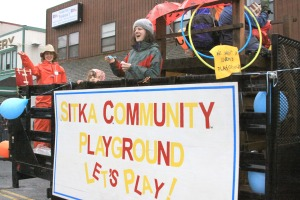 The Sitka Community Playground float in the Alaska Day parade on Oct. 18, 2011.