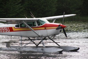 An Alaska Department of Fish & Game float plane prepares to take off from Swan Lake after stocking the lake with rainbow trout on May 28.
