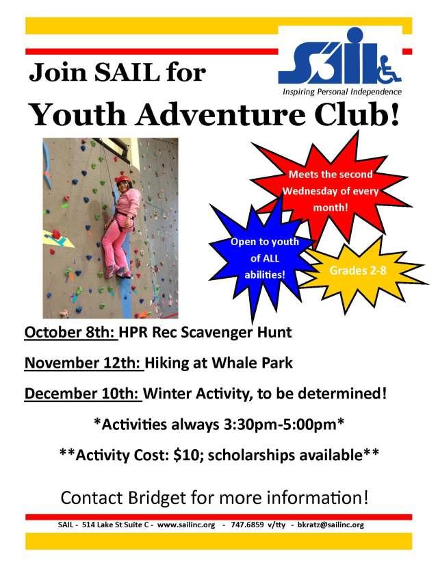 Youth Adventure Club Oct-Dec